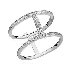 Srebrny, duży pierścionek dwie obrączki pr.925 cyrkonia biała