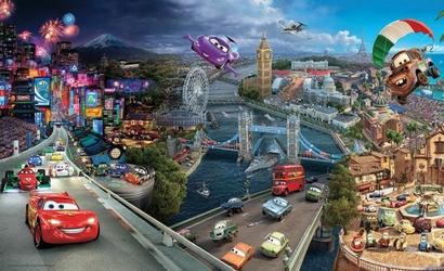 Auta Cars Disney Wyścig - fototapeta