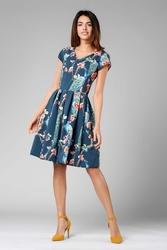 Granatowa ponadczasowa sukienka z układanym dołem