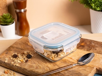 Pojemnik żaroodporny do mikrofali i piekarnika  do przechowywania z pokrywą i wentylem altom design vega kwadratowy 0,3 l