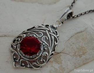 Brenda - srebrny wisiorek z rubinem