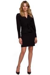 Czarna dopasowana sukienka na guziki z szarfą