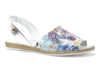 Sandały lemar 40062 flowers+n. kryszt. srebro