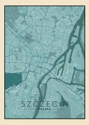 Szczecin niebieska mapa - plakat