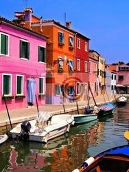 Fototapeta vibrantly malowane domy burano, wenecja, włochy