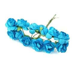 Papierowe róże 1,5cm12 szt. - niebieski - niebieski