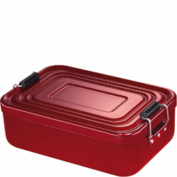 Pojemnik metalowy na lunch Retro z zatrzaskami Kuchenprofi czerwony KU-1001461418