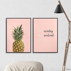 Zestaw dwóch plakatów - less monday, more weekend , wymiary - 60cm x 90cm 2 sztuki, kolor ramki - biały