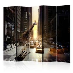 Parawan 5-częściowy - żyrafa w wielkim mieście ii room dividers