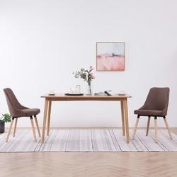 Vidaxl krzesła do jadalni, 2 szt., brązowe, tapicerowane tkaniną