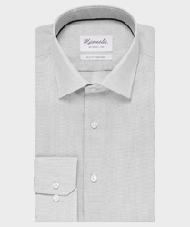 Elegancka szara koszula ze splotem oxford michaelis z kołnierzem klasycznym 40