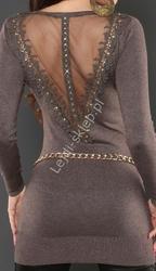 Sweter - tunika z ozdobnymi gipiurowymi plecami, kawa z mlekiem, 8084
