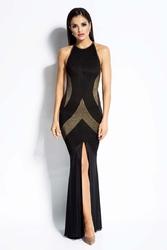 Czarno złota sukienka maxi tuba z odkrytymi plecami