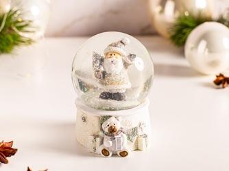 Kula śnieżna z mikołajem  ozdoba na boże narodzenie altom design biała 6,5 x 6,5 x 9,5 cm