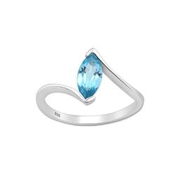 Srebrny pierścionek z topazem swiss blue - europa 14; us 7, 17 mm