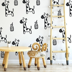 Scandi giraffe - tapeta ścienna , rodzaj - próbka tapety 50x50cm