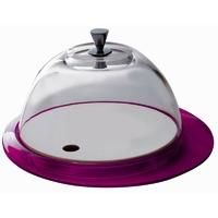 Casa bugatti - glamour - patera ze szklaną pokrywą - fioletowa - fioletowy