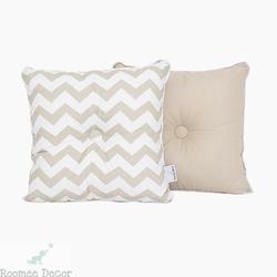 Poduszka dekoracyjna 28x28 - zygzaki - beżowo - białe
