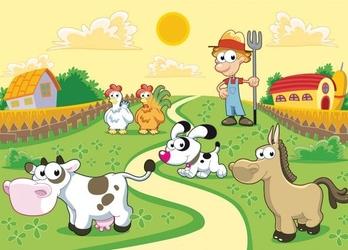 Farmer i zwierzaki - fototapeta