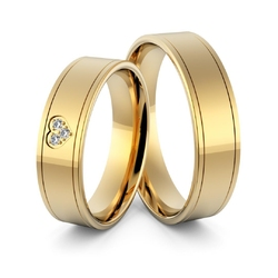 Obrączki ślubne z sercem i brylantami - au-973