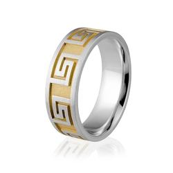 Obrączka srebrna męska pozłocona z greckim wzorem - wzór ag-333