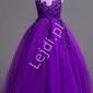 Fioletowa sukienka dla dziewczynki z kwiatkami i kryształkami 832