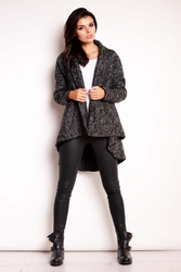 Czarny asymetryczny płaszcz jesionka