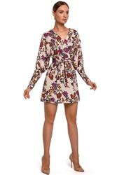 Mini sukienka kopertowa wiązana paskiem model 2