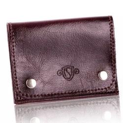 Skórzany cienki portfel wizytownik solier sw18 ciemny brązowy - ciemny brąz