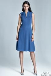 Niebieska Sukienka Midi Bez Rękawów