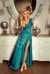 Sukienka na wesele szmaragdowa, wieczorowa z rozcięciem - luna