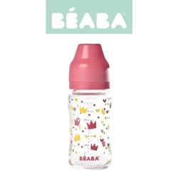 Butelka szklana szerokootworowa beaba 240ml - crown pink