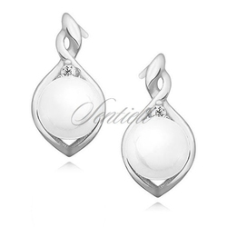 Srebrne pozłacane kolczyki pr.925 perły białe z cyrkonią - rodowanie