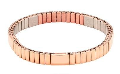Bransoletka magnetyczna 6000 gaussów  0,6 tesli różowe złoto 3623-1 elastyczna ze stali chirurgicznej i miedzią