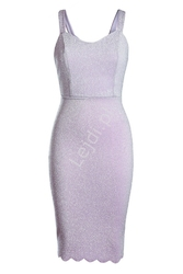 Lureksowa brokatowa jasno fioletowa sukienka midi 983