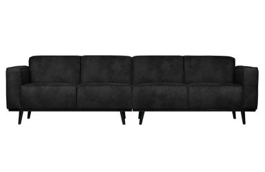 Be pure sofa statement 4-osobowa 280 cm zamszowa czarna 378657-17