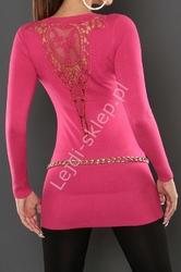Różowa tunika z gipiurową koronką na plecach, 110