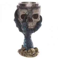 Niebieska smocza łapa trzymająca czaszkę - kielich dekoracyjny