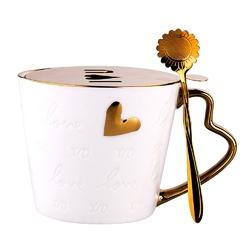 Kubek do kawy i herbaty porcelanowy altom design serce 350 ml z szablonem do posypywania opakowanie prezentowe