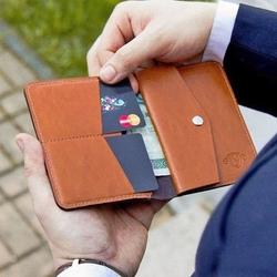 Skórzany cienki portfel męski z bilonówką solier sw15 slim jasny brąz - jasny brąz