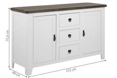 Klasyczna komoda z szufladami 150 cm pari biała