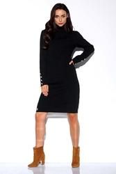 Czarna swetrowa sukienka z golfem ozdobiona guzikami