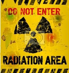 Fototapeta warning obszar promieniowania, ilustracji wektorowych