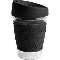 Szklany kubek do kawy z silikonową opaską i wieczkiem Sagaform czarny SF-5017714