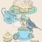 Plakat rocznika tle herbaty rano