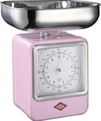 Waga kuchenna z zegarem Retro różowa