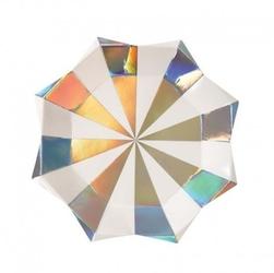 Meri meri - małe talerzyki gwiazdka paski srebrne