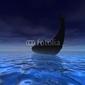 Plakat na papierze fotorealistycznym statek wikingów