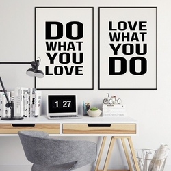 Do what you love what you do - komplet plakatów , wymiary - 18cm x 24cm 2 sztuki, kolor ramki - czarny