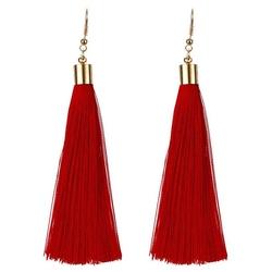 Kolczyki frędzle długie wiszące chwosty czerwone